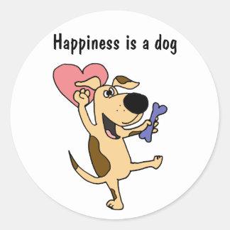 XX- Dancing Puppy Dog Love Classic Round Sticker