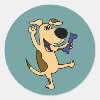 XX- Dancing Puppy Dog Classic Round Sticker