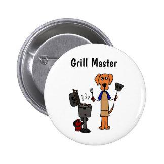 XX dibujo animado de Grill Master Pin Redondo De 2 Pulgadas
