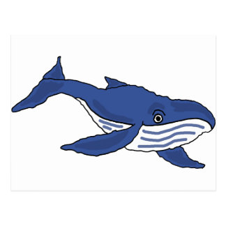 XX dibujo animado de la ballena azul Tarjetas Postales