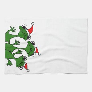 XX dibujo animado de las ranas de árbol de navidad Toallas De Mano