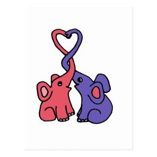 XX dibujo animado del amor del elefante Postal