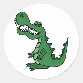XX dibujo animado del cocodrilo Etiquetas Redondas