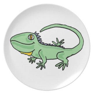 XX dibujo animado divertido de la iguana Plato De Comida
