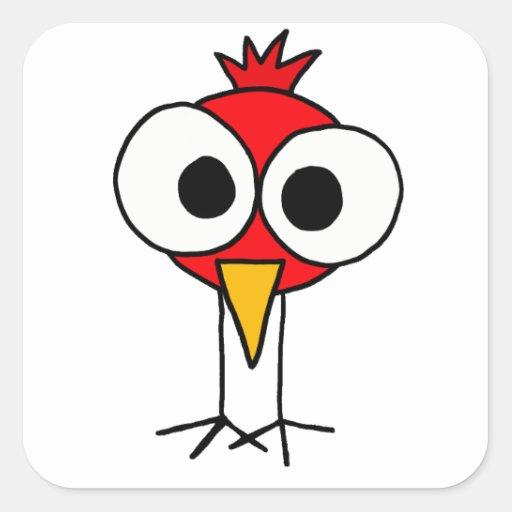 XX dibujo animado divertido de Redbird Calcomanía Cuadradase