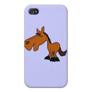 XX dibujo animado divertido del caballo iPhone 4 Carcasas