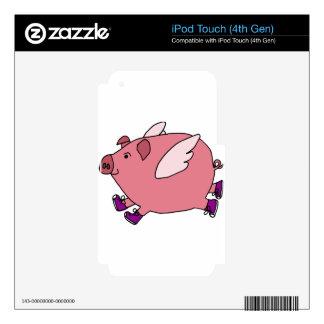 XX dibujo animado divertido del cerdo del vuelo iPod Touch 4G Calcomanías