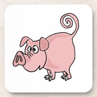 XX dibujo animado divertido del cerdo Posavaso