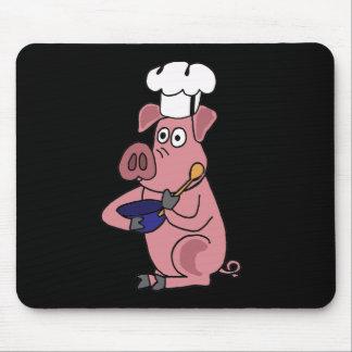 XX dibujo animado divertido del cocinero del cerdo Alfombrilla De Ratones