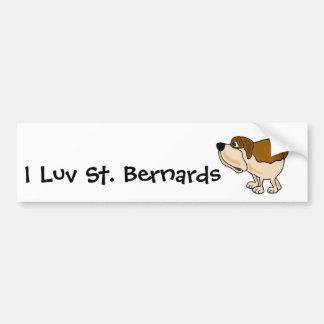 XX dibujo animado divertido del perro de St Bernar Pegatina Para Auto