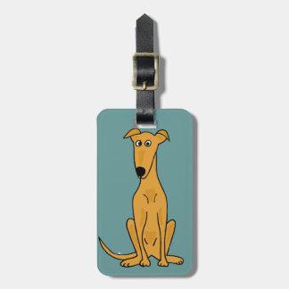 XX dibujo animado divertido del perro del galgo Etiquetas Maletas