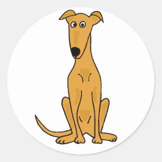 XX dibujo animado divertido del perro del galgo Etiqueta