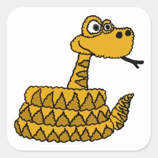 XX dibujo animado enrrollado de la serpiente de Pegatina Cuadrada