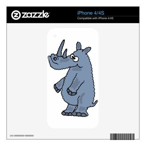 XX dibujo animado enrrollado del rinoceronte Calcomanía Para iPhone 4