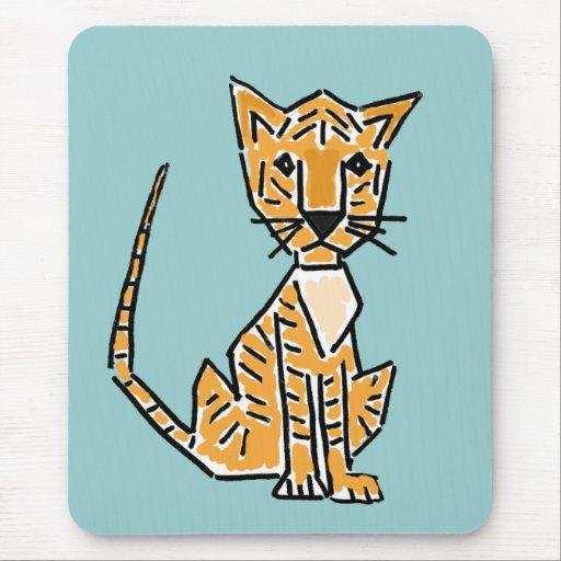 XX dibujo animado enrrollado del tigre Tapetes De Ratones