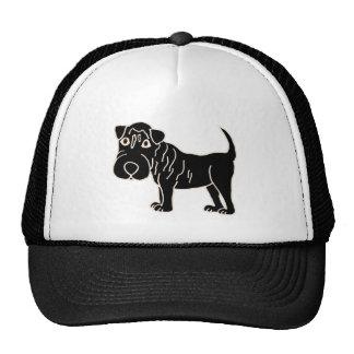 XX dibujo animado negro del perro de Shar Pei Gorro De Camionero