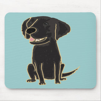 XX dibujo animado negro lindo de Labrador Alfombrilla De Ratón