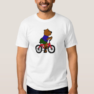 XX dibujo animado que monta en bicicleta del oso Remeras