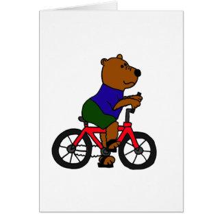 XX dibujo animado que monta en bicicleta del oso Tarjeta De Felicitación