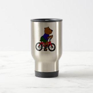 XX dibujo animado que monta en bicicleta del oso Taza De Viaje