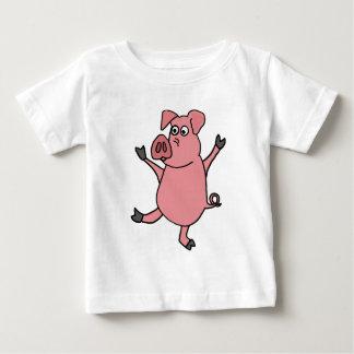 XX dibujo animado rosado de baile del cerdo Playera De Bebé