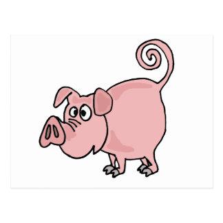 XX dibujo animado rosado divertido lindo del cerdo Tarjetas Postales