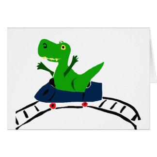 XX dinosaurio divertido de T-rex en arte de la mon Tarjeta