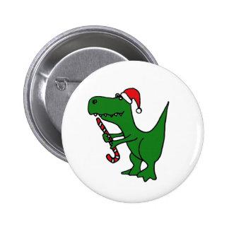 XX dinosaurio divertido de T-rex que lleva el gorr Pin Redondo De 2 Pulgadas