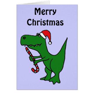 XX dinosaurio divertido de T-rex que lleva el gorr Tarjeta De Felicitación