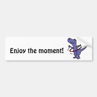 XX dinosaurio divertido de T-rex usando el aro de  Etiqueta De Parachoque