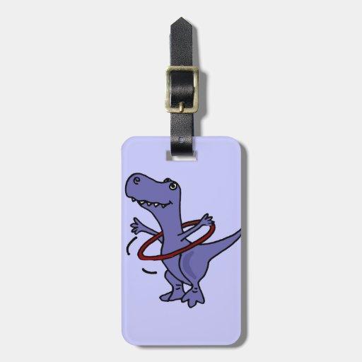 XX dinosaurio divertido de T-rex usando el aro de  Etiquetas Para Maletas