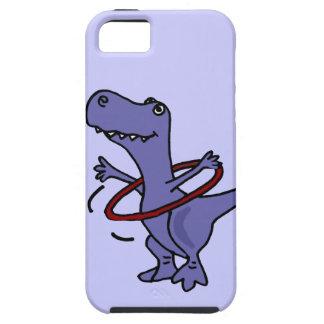 XX dinosaurio divertido de T-rex usando el aro de iPhone 5 Fundas
