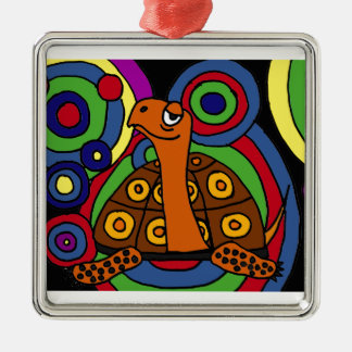 XX diseño del arte abstracto de la tortuga de caja Adorno Navideño Cuadrado De Metal