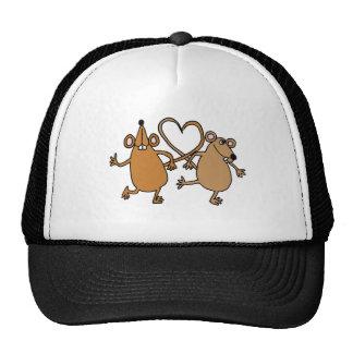 XX diseño divertido del amor de los ratones del ba Gorro