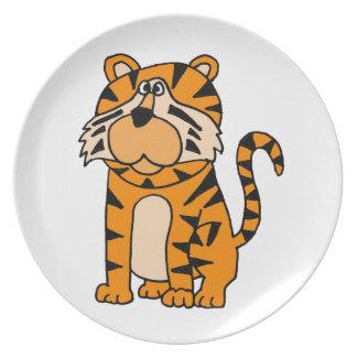 XX diseño divertido del dibujo animado del tigre Plato