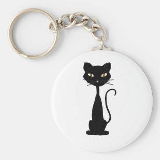 XX diseño negro del arte del gato del gatito Llavero Redondo Tipo Pin
