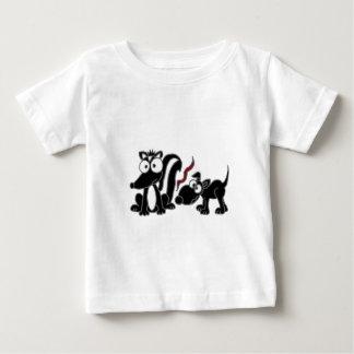 XX- Dog Sniffing Skunk Butt Cartoon Baby T-Shirt