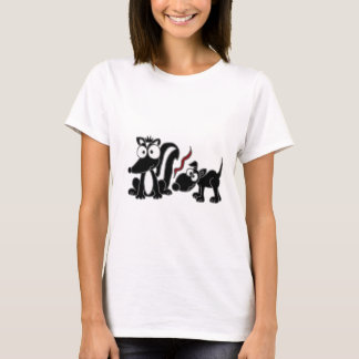 XX- Dog Sniffing Skunk Butt Cartoon T-Shirt