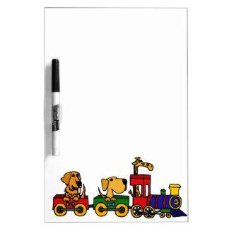 XX- Dogs on a Train Cartoon Dry Erase Whiteboards