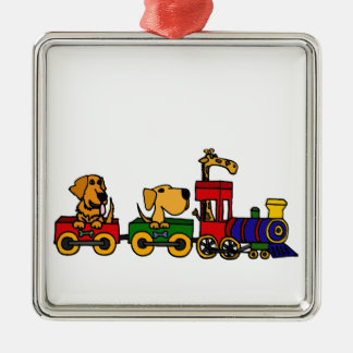 XX- Dogs on a Train Cartoon Square Metal Christmas Ornament