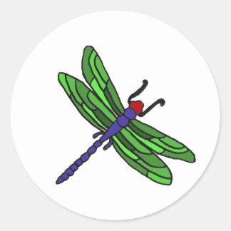XX- Dragonfly artoon Classic Round Sticker