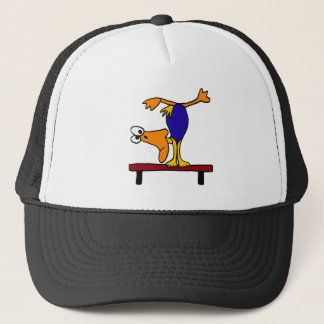XX- Duck on the Balance Beam Cartoon Trucker Hat