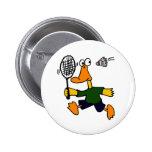 XX- Duck Playing Badminton Cartoon Button
