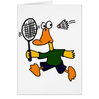 XX- Duck Playing Badminton Cartoon Greeting Card