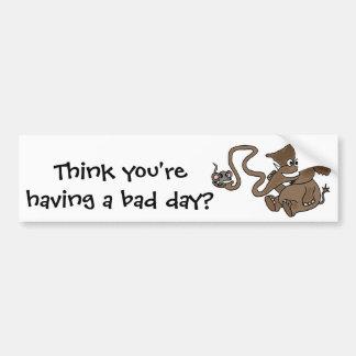 XX elefante divertido con el ratón en dibujo anima Etiqueta De Parachoque