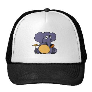 XX elefante que juega los tambores Gorros Bordados