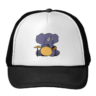 XX- Elephant Playing Drums Trucker Hats