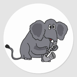 XX- Elephant Playing the Saxophone - His Trunk Classic Round Sticker