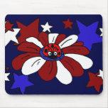 XX flor roja impresionante y estrellas blancas y a Tapetes De Ratón