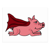 XX- Flying Super Pig Cartoon Postcard